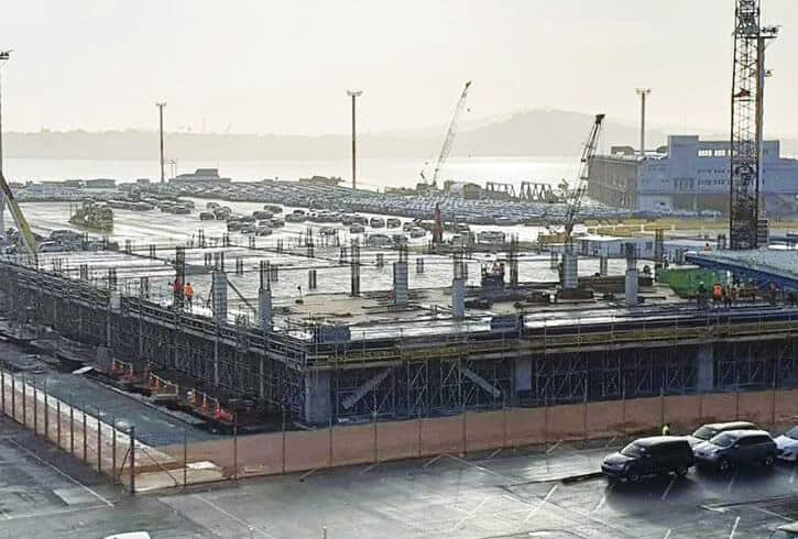 Ports of Auckland car park shown with the concrete floors under construction