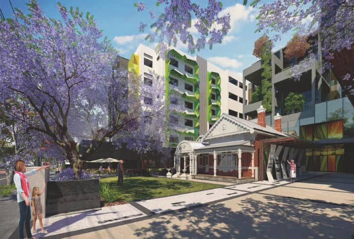 A render of the Rosewood Aged Care facility in West Perth, Western Australia
