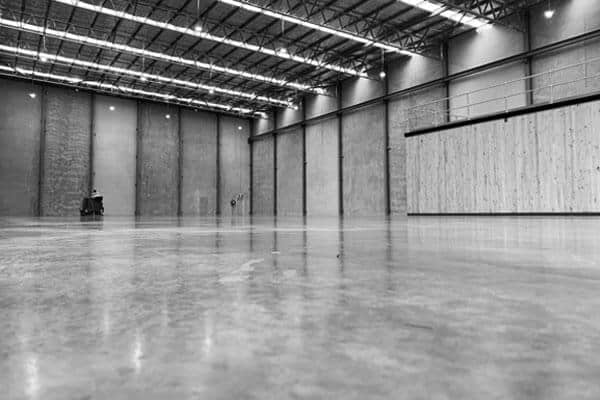 The Markham exposed concrete durability treatment system is shown in a completed warehouse