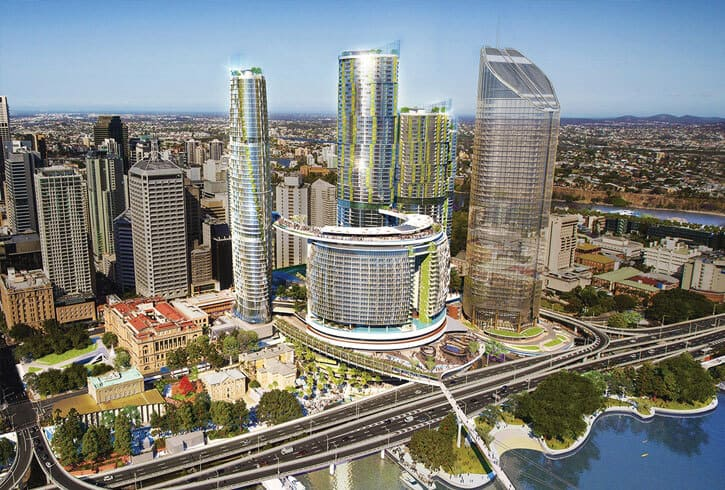 Aerial shot of Queens Wharf (Brisbane CBD) treated with the Markham concrete durability and protection system