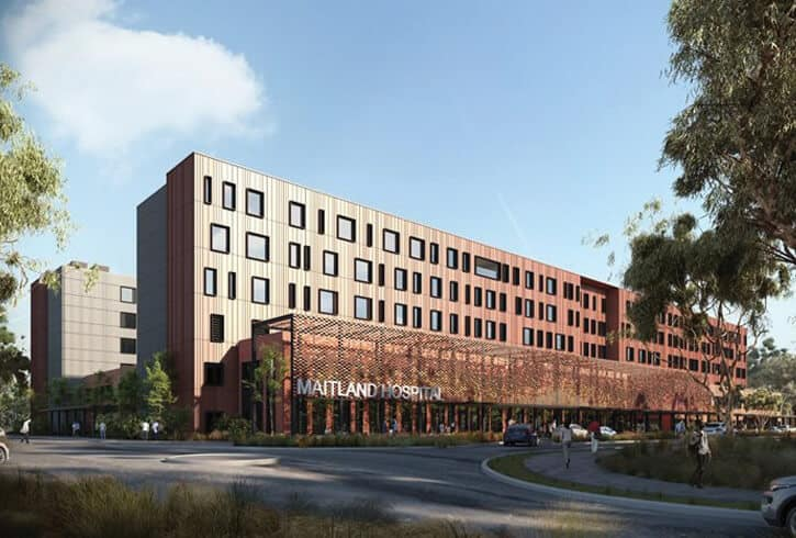 A render of the New Maitland Hospital, New South Wales
