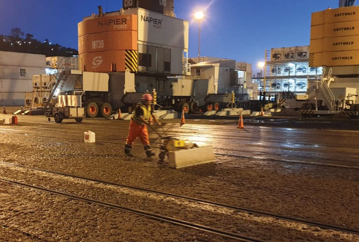 The Napier Port Wharf having a spray-applied advanced colloidal silica hydrogel concrete treatment to extend the service life of the wharf